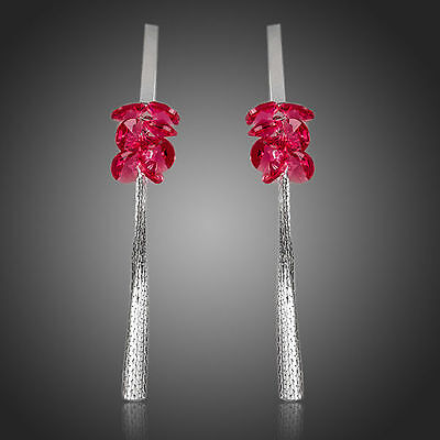 Fashion Rose Red Austria Crystals White Gold Plated Drop Dangle Tassel Earrings