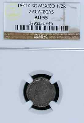 Mexico Spanish Colonial 1821Z Rg 1/2 Real, Certified Ngc Au 55