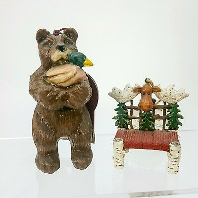 NEW Bear Duck Moose Chair Christmas Ornaments Resin Faux Wood Carved 2 pc Set