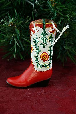 """Country Western Cowboy Boot Red Green Christmas Ornament 3.5"""" Resin Z3"""