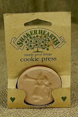 "Shakerhearth Heralding Angel Cookie Press Stamp 2"" Pottery Mold Handle K1"