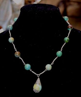 Old Chinese Natural Turquoise and Filigree Silver Necklace