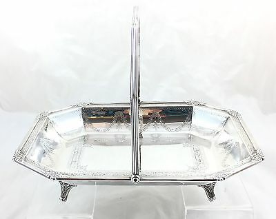 Edwardian Sterling Silver Fruit Bowl On Feet With Handle  *** Sheffield 1907 ***