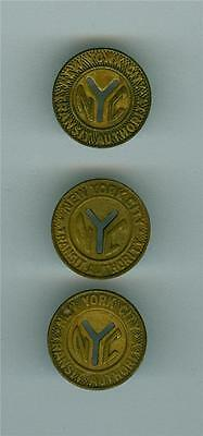 3 variety of 1953 small Y cut out NEW YORK CITY SUBWAY TOKEN