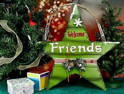 "Welcome Friends 16"" Door Wall Hanger Holiday Decor Wood Star & Twigs Glitter NEW"