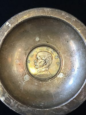 Antique Chinese Silver Coin Dish Boat/vintage