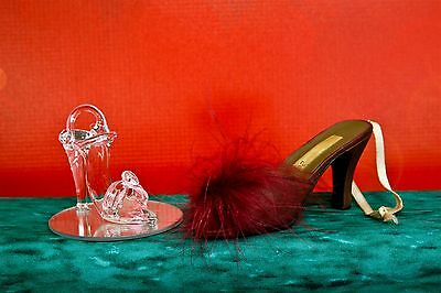 High Heel Shoes Ornament Figurine Glass Pink Ankle Strap & Feather Slide Set 2
