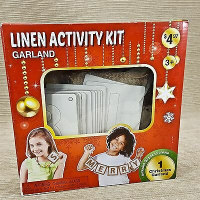 Linen Activity Kit Garland Merry Christmas Kids Crafting Decoration NEW