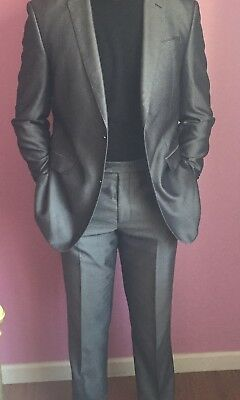 Slim Fit Rosinni Men's Suit - Silver 42 Long 36W - Made in Italy