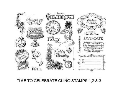 "Graphic 45 ""time To Celebrate"" Cling Stamp Set 1 2 & 3 Retired Scrapjack's Place"