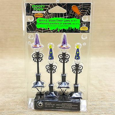Lemax Spooky Town Halloween Witch & Wizard Street Lamp Post Set 4 Light 3V NEW
