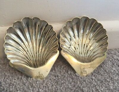 Antique Victorian Silver Plated Shell Dishes Crested Vintage