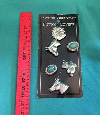 Vintage Set of 6 Button Covers Western Wear Silver Tone Country Horse Saddle