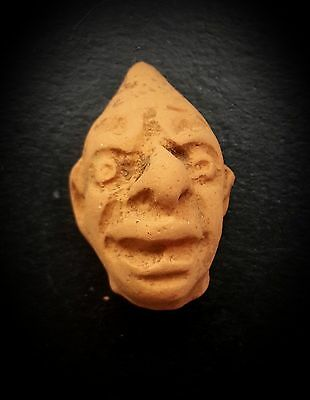 ANCIENT ROMAN CHILDS TOY RED CERAMIC GROTESQUE MALE HEAD 1st-3rd CENTURY A.D.