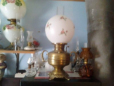 2-Handle---Brass Table---Miller---Oil Lamp---W/ball Shade