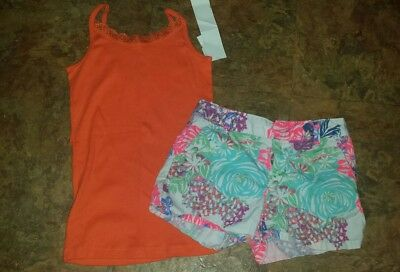 NWT Girls size 10/12 orange cami Childrens Place, flower print shorts