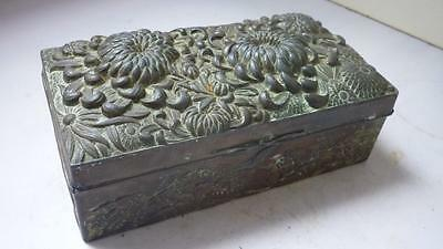 Antique Japanese Dip Repousse Copperized Metal Jewellery  Box early 20 century