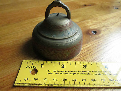 Unique Vtg Bell Sarna India Brass Bell W 3 Clappers Red Green SSS 91 Meditation
