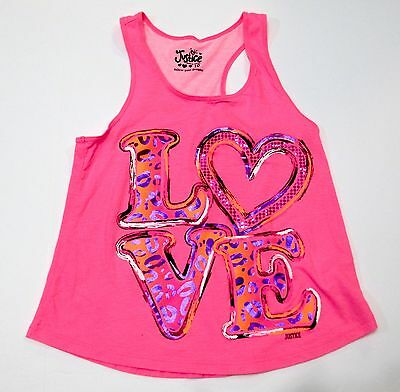 """Justice Girls Size 10 Racerback Colorful Top With """"love"""" Animal Print Euc"""