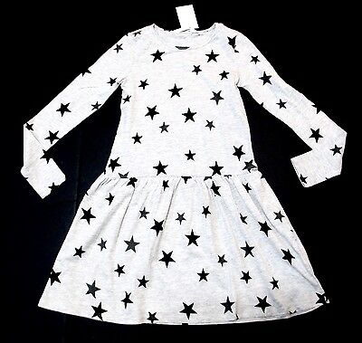 H&m Girls Size 8-10Y Long Sleeve Lightweight Star Print Dress Nwt