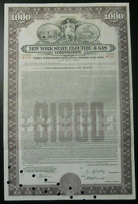 $1000 New York State Electric & Gas Gas Corporation bond / stock certificate