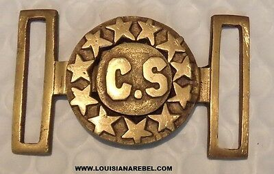 Confederate States Cs Brass Belt Buckle  Confederate Dixie Civil War Soldier Csa