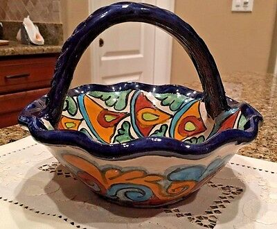Mexican Pottery Round Basketcandy Dish With Handle