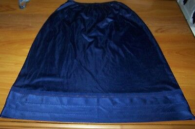 Navy Blue LORRAINE Antron III Nylon Lingerie Half Slip w/Lace Trim ~ Small Tall