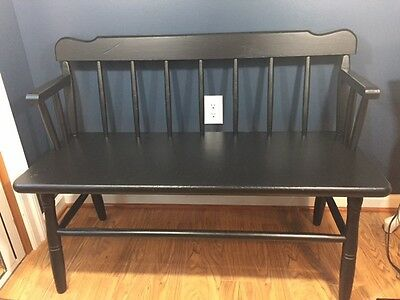 Vintage Black Deacon's Bench