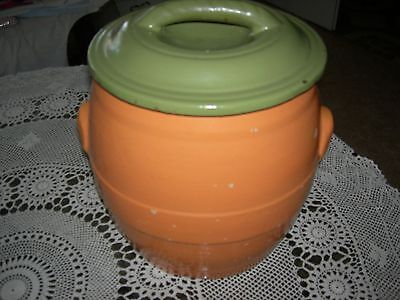 Vintage pottery bread crock pot and lid