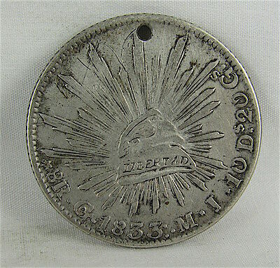MEXICO 1833 Go MJ 8 REALES - HOLED