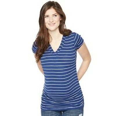 NEW Maternity Oh Baby by Motherhood™ Ruched V-Neck Tee Navy Striped Size XL