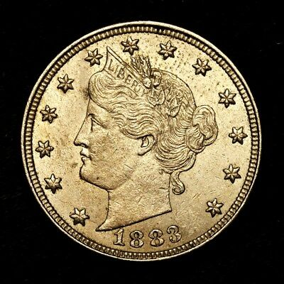 """1883 ~**ABOUT UNCIRCULATED AU**~ Liberty """"V"""" Nickel USA Rare Old Coin!! #P13"""