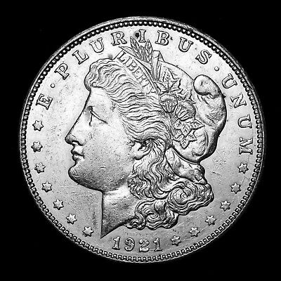 1921 D ~**ABOUT UNCIRCULATED AU**~ Silver Morgan Dollar Rare US Old Coin! #881