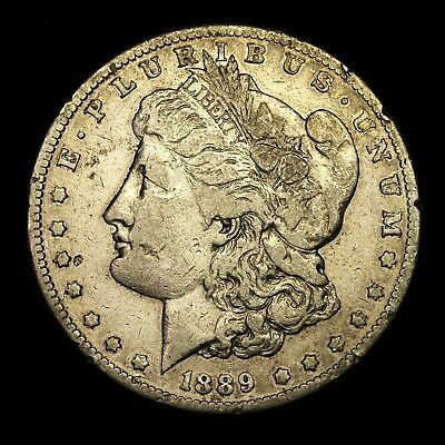 1889 S ~**KEY DATE**~ Silver Morgan Dollar Rare US Old Antique Coin! #334
