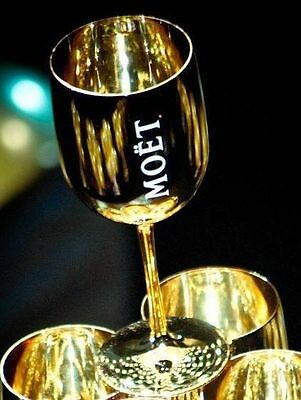 MC Moet & Chandon Imperial Gold Acrylic Goblets Flutes Brand New of 2 !