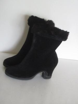 Vintage 1940's Suede Booties Boot Overlay Rubber Soles Real Fur Trim Heels 6