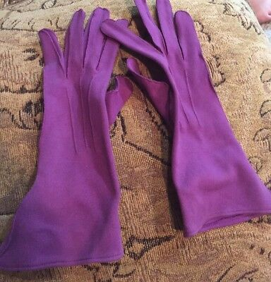 Vintage Purple Womens Ladies  Gloves Feel Like Suede Soft