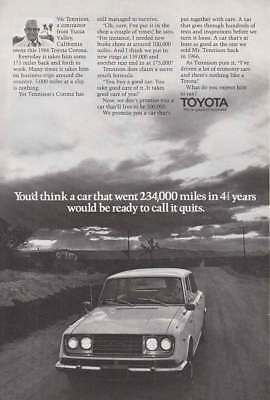 1971 Toyota Corona: You'd Think a Car That Went 234,000 Miles (16298) Print Ad