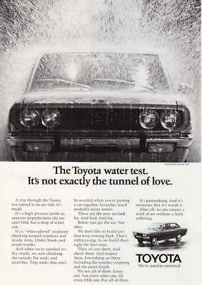 1971 Toyota: Water Test, Not Exactly the Tunnel of Love (14962) Print Ad
