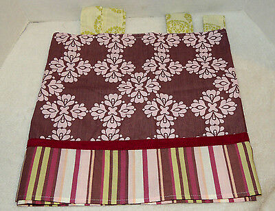 CoCaLo Baby Kid Tab Top Nursery Room Valance Pink Purple & Green Floral & Stripe