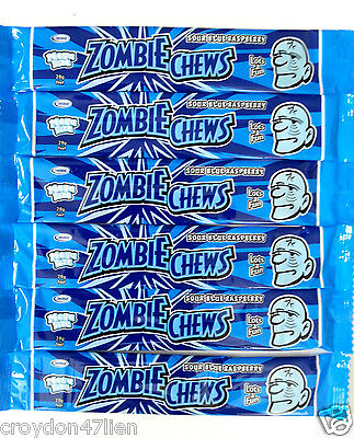 30 x 28g Zombie Chews Sour Blue Raspberry Flavour Lollies