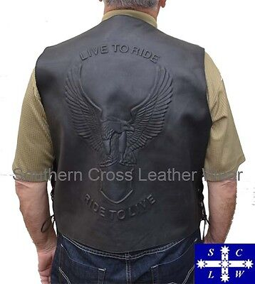Men's Leather Embossed Vest Live to Ride, Ride to live, Eagle Size S-6XL