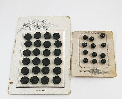 24 Black Glass Dress Buttons Austria 12 Czech Black Buttons Original Cards