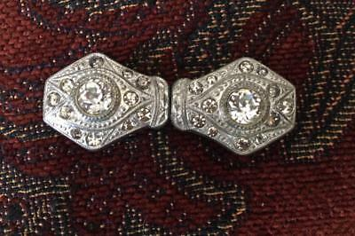 Vintage Victorian Art Deco Belt Buckle Silver Tone with Faceted Rhinestones 2 pt