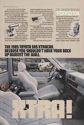 1985 Toyota SR5 Xtracab: Back Up Against the Wall (8836) Print Ad