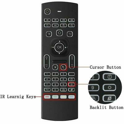 Backlight 2.4G Wireless Remote Fly Air Mouse Keyboard for TV Box Android Black