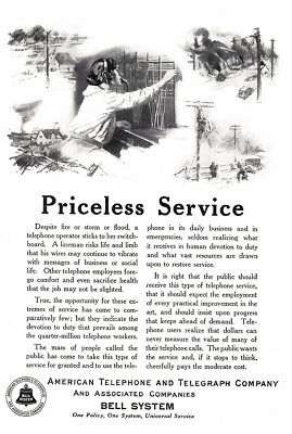 1924 American Telephone, Bell: Priceless Service (24685) Print Ad