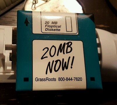 """Vintage 20 MB Floptical diskette advertising button """"20 mb now"""" computer ad"""