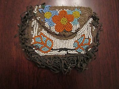 Antique OJIBWA POUCH  lots of soul w. beaded florals on both sides Great Lakes